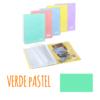 Pasta de arquivo com argolas A4 c/40 micas e envelope - Pasta de arquivo com argolas A4 c/40 micas e envelope - Verde Pastel
