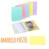 Pasta de arquivo com argolas A4 c/20 micas e envelope - Pasta de arquivo com argolas A4 c/20 micas e envelope - Amarelo Pastel