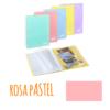 Pasta de arquivo com argolas A4 c/20 micas e envelope - Pasta de arquivo com argolas A4 c/20 micas e envelope - Rosa Pastel